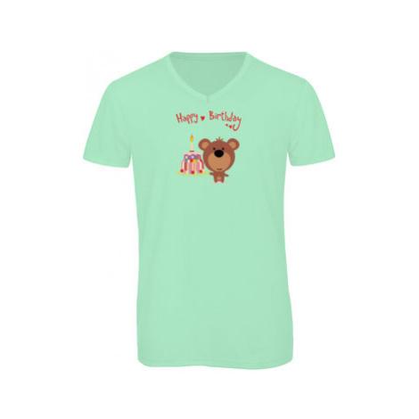 Pánské triko s výstřihem do V Happy Birthday Bear