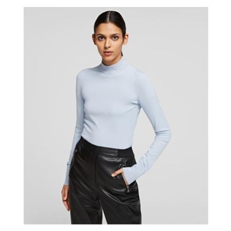Svetr Karl Lagerfeld Logo Mock Neck Sweater - Modrá