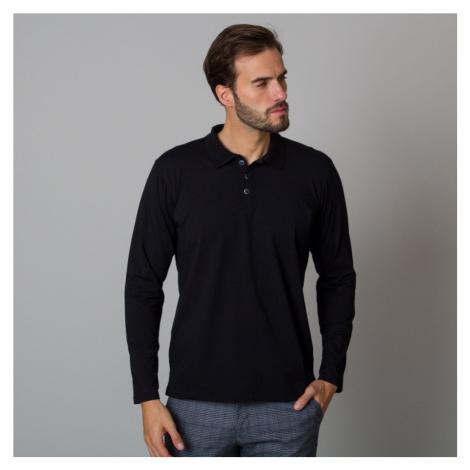 Pánské polo tričko černé barvy s dlouhým rukávem 12476 Willsoor