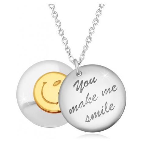 """Stříbrný 925 náhrdelník - dva vypouklé kruhy, nápis """"You make me smile"""", smajlík Šperky eshop"""