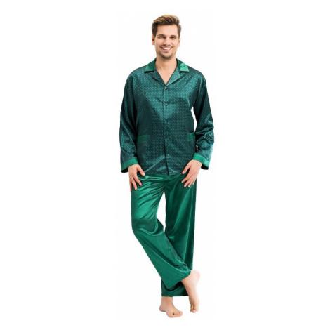Pánské saténové pyžamo Charles zelené Luna