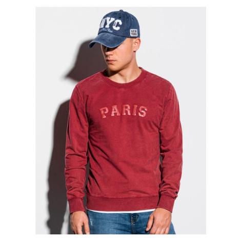 Ombre Clothing Červená mikina bez kapuce s potiskem PARIS B1027