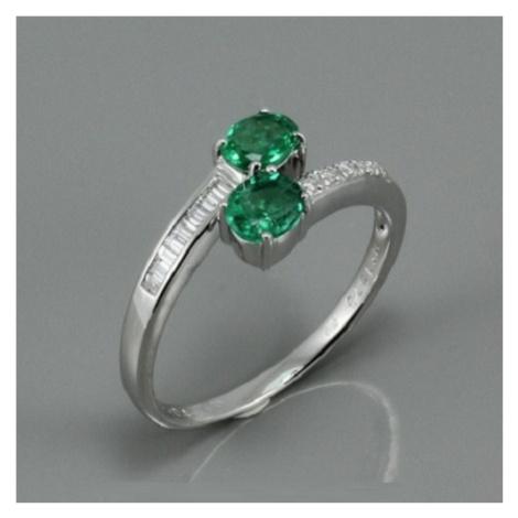 Diamantový prsten se smaragdy K1573