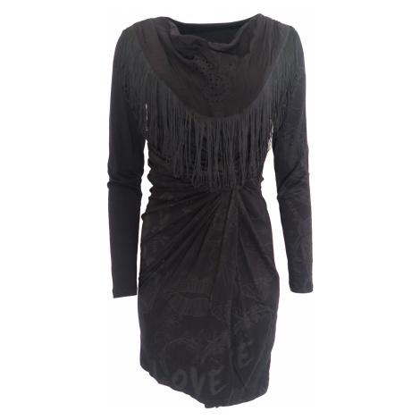 Černé šaty s třásněmi DESIGUAL