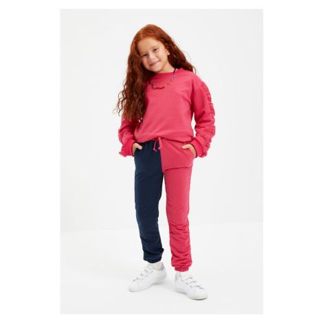 Trendyol Fuchsia Color Block Girl Knitted Sweatpants