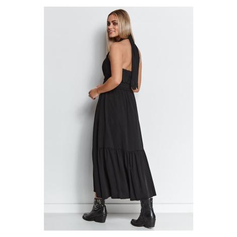Černé maxi šaty M643 Makadamia