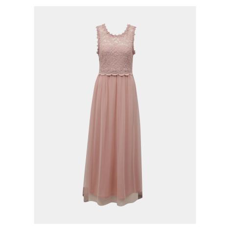 Vila růžové maxi šaty Lynnea s krajkou - XL