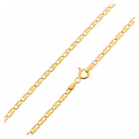 Řetízek ze žlutého 14K zlata, lesklá oválná očka s hladkým obdélníkem, 450 mm Šperky eshop