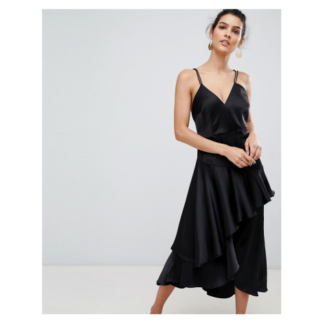 Y.A.S ruffle side cami mini dress in black with cross back