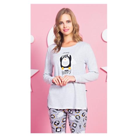 Dámské pyžamo dlouhé Tučňák Happy, XL, šedá Vienetta Secret