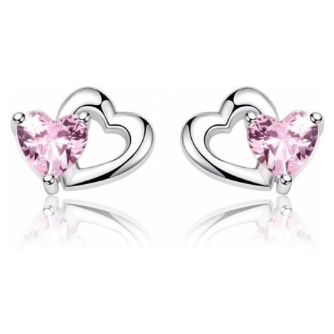 Linda's Jewelry Stříbrné náušnice Pecky Pink Love Ag 925/1000 IN150