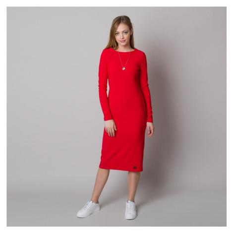 Dámské žebrované šaty červené barvy 12666 Willsoor