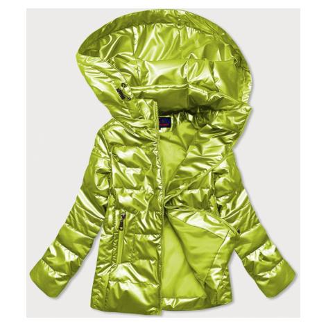 Lesklá prošívaná dámská bunda v limetkové barvě (2021-04)