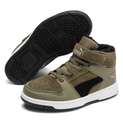 Puma REBOUND LAYUP FUR SD V PS tmavě zelená - Dětská volnočasová obuv