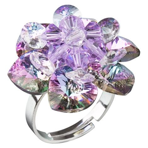 Evolution Group Stříbrný prsten s krystaly Swarovski fialová kytička 35012.5