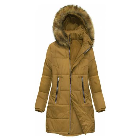Hořčicová dámská zimní bunda (B2627) S'WEST