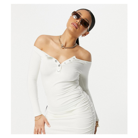 ASYOU off the shoulder dress with long sleeve in ecru-Cream
