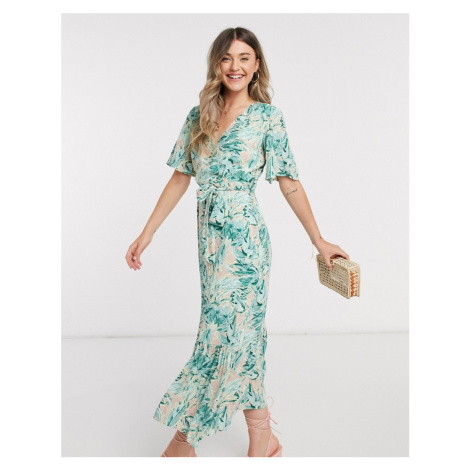 Y.A.S wrap maxi dress with flutter sleeve in mixed floral-Multi