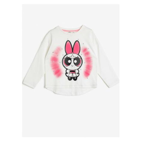 Koton Girls Ecru Powerpuff Girls Licensed T-Shirt