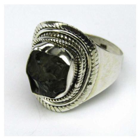 AutorskeSperky.com - Stříbrný prsten s vltavínem - S4453