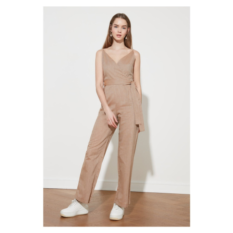 Trendyol Camel Belt Cruise Collar Jumpsuit