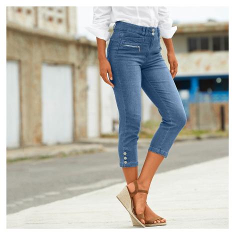 Blancheporte Džínové 3/4 kalhoty s knoflíky na koncích nohavic sepraná modrá