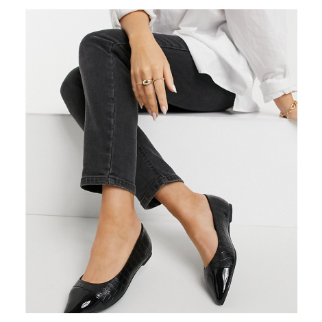Simply Be Wide Fit ballerina pump with toe cap in black
