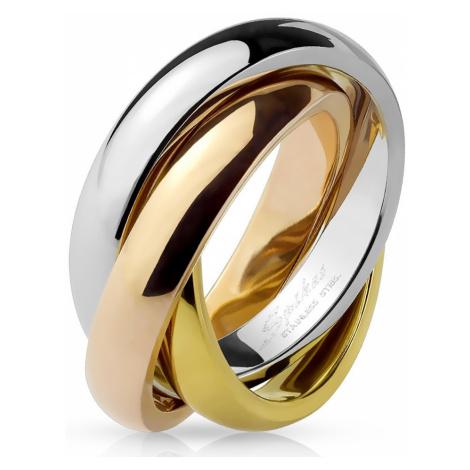 Trojitý prsten z oceli - tříbarevná kombinace