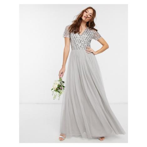 Maya Bridesmaid v neck maxi dress with tonal delicate sequin in silver-Grey