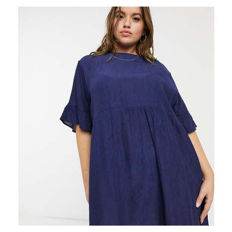 Lola May Curve smock dress in navy-Pink