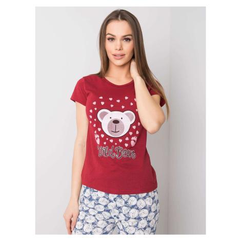 Maroon dámské bavlněné pyžamo FPrice
