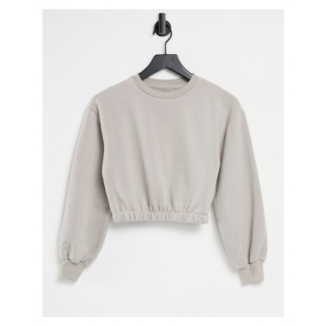 Pull&Bear cropped sweatshirt with elasticated hem in stone-Grey Pull & Bear