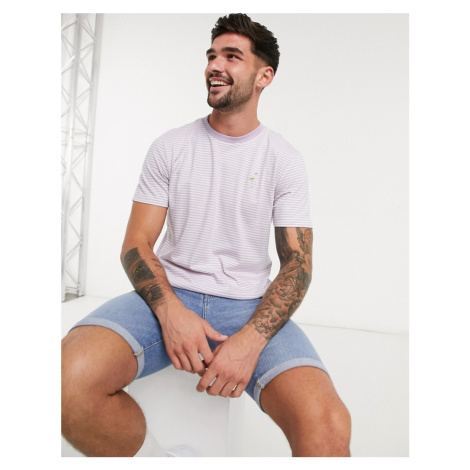 Selected Homme striped t-shirt with embroidered heron chest logo-Purple