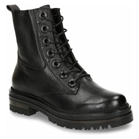 Černá kožená dámská kotníková obuv Baťa