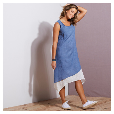Blancheporte Asymetrické šaty 2 v 1 modrá džínová