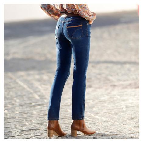 Blancheporte Rovné džíny, koženkové detaily modrá