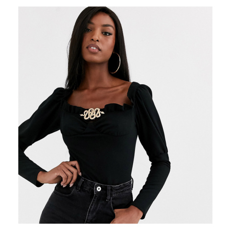Missguided Tall milkmaid bodysuit with snake buckle in black