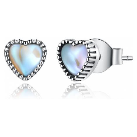 Linda's Jewelry Stříbrné náušnice Skleněné Srdce Ag 925/1000 IN223