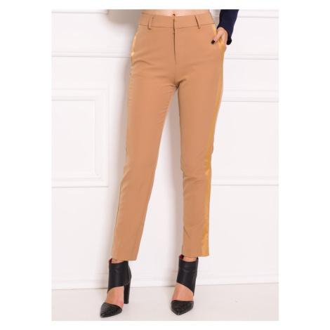 Dámské společenské kalhoty s lampasy - béžová