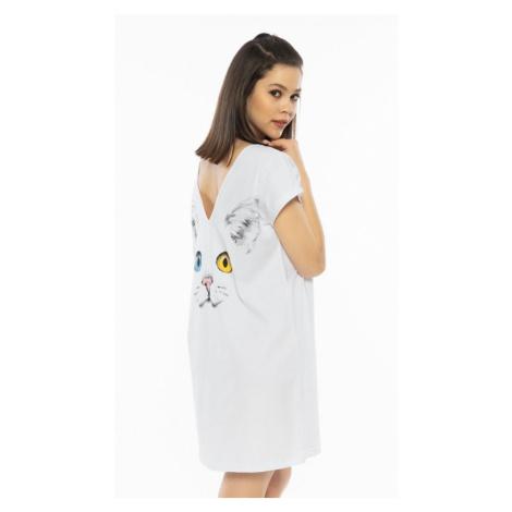 Dámská noční košile s krátkým rukávem Velká kočka, XL, bílá Vienetta Secret