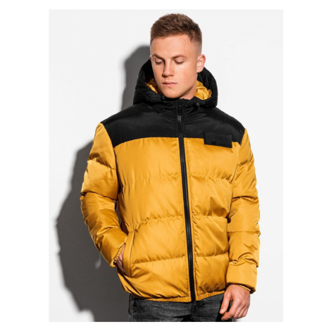 Ombre Clothing Žlutá zimní bunda ve stylovém provedení C458