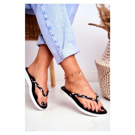 Women's Flip Flops Braided Strap Black Peggie