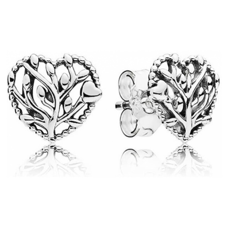 Pandora Stříbrné náušnice Kvetoucí srdce