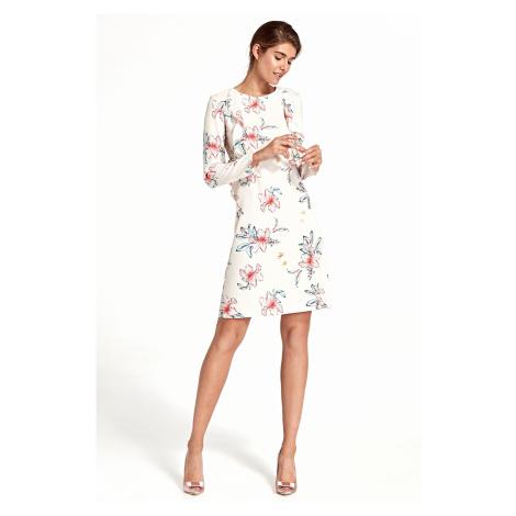 Světlé květinové šaty se svislým límcem NIFE