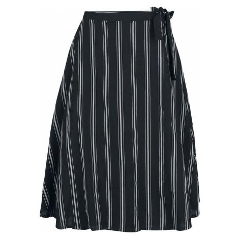 Banned Retro Námořnická zavinovací sukně s proužky Sukně cerná/šedá