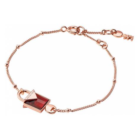 Michael Kors Růžově zlacený stříbný náramek s visacím zámkem MKC1041AD791