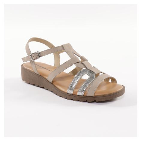Blancheporte Kožené sandály na klínku, ze 2 materiálů béžová