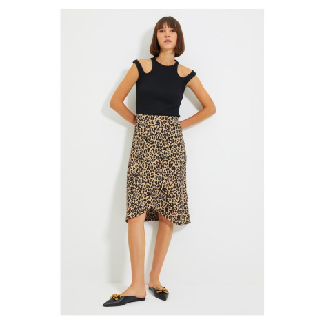 Trendyol Brown Double Breasted Knitted Skirt