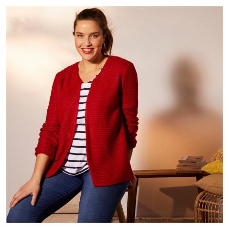 Blancheporte Vroubkovaný svetr mohérový na dotek červená