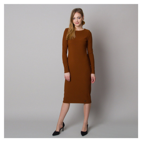 Dámské žebrované šaty hnědé barvy 12664 Willsoor